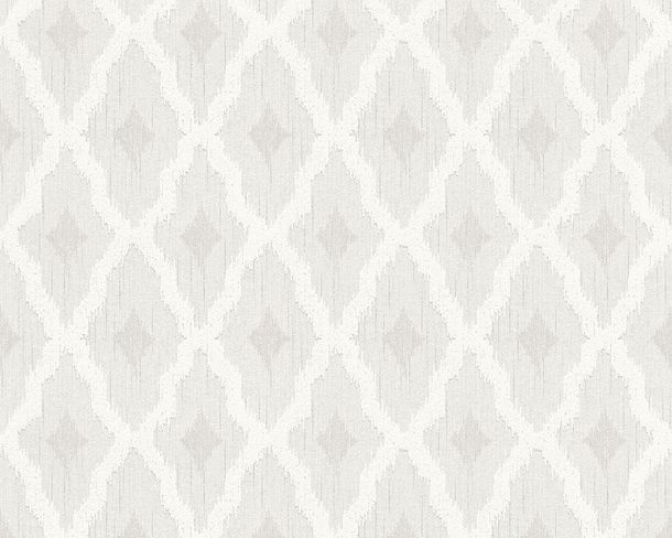 Wallpaper squared white grey Tessuto 96197-1