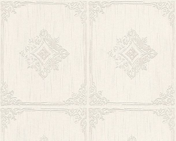 Wallpaper squared white grey Tessuto 96199-2