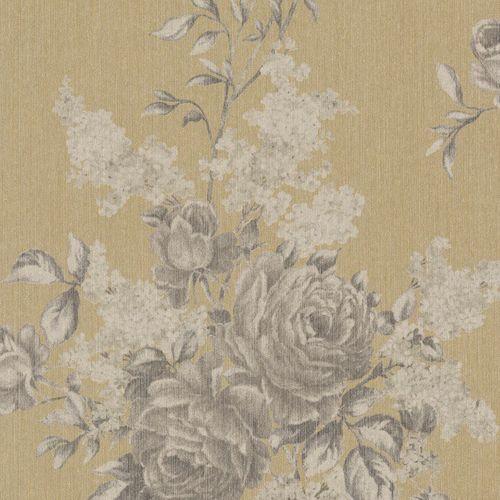 Tapete Vlies Blumen grau gold Rasch Textil 077550 online kaufen