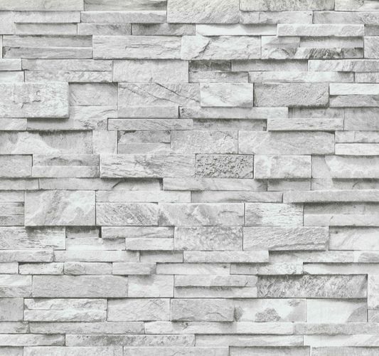Wallpaper stone wall brick grey white PS 02363-30