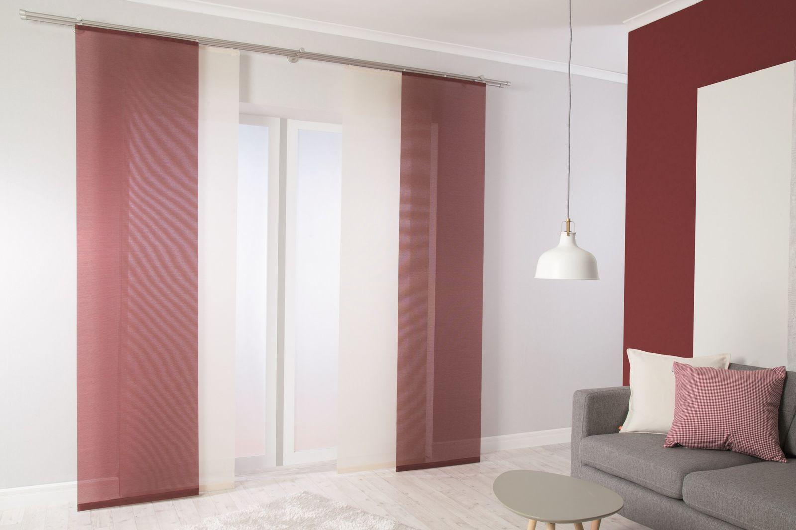 fl chenvorhang halbtransparent rot einfarbig 5802 48. Black Bedroom Furniture Sets. Home Design Ideas