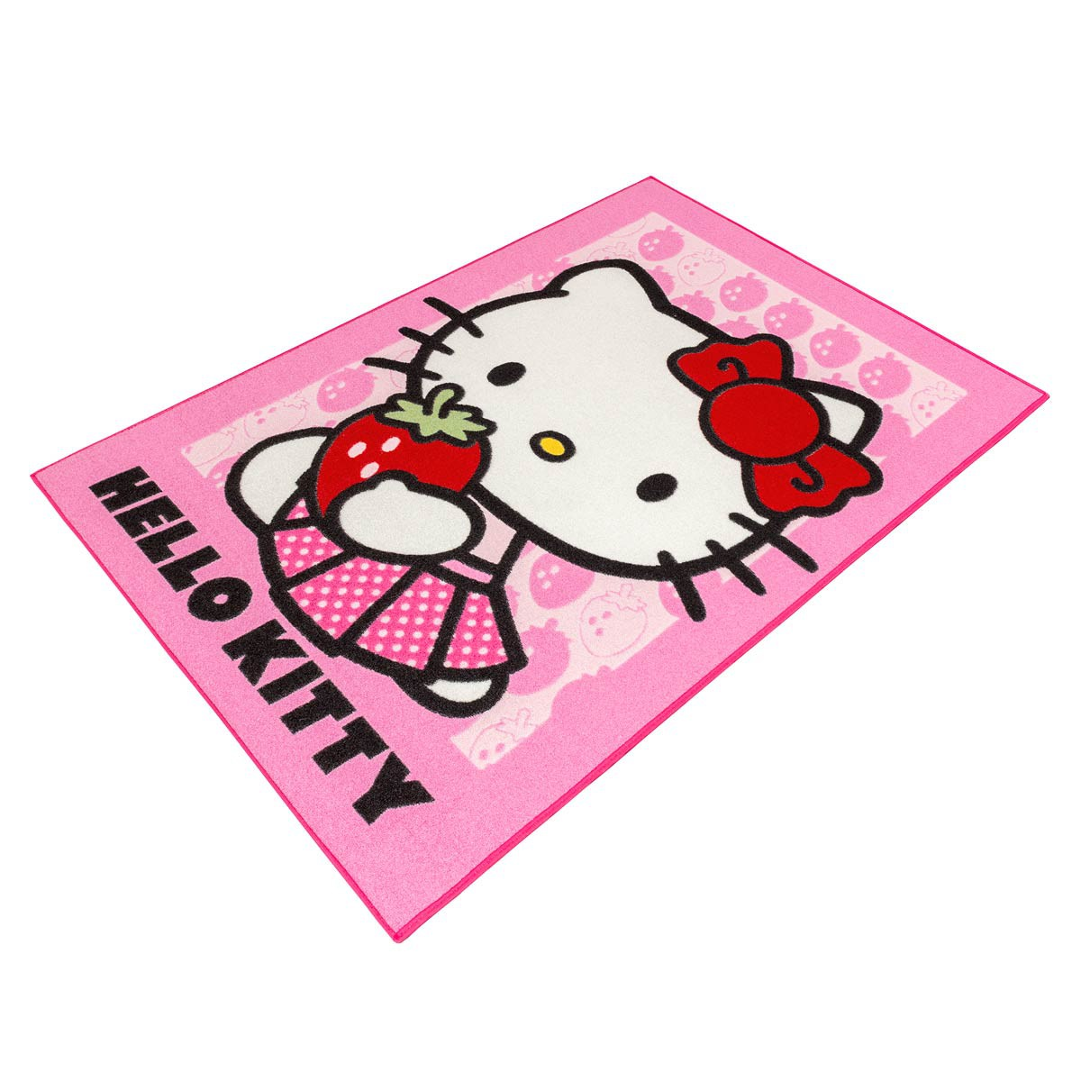 kids carpet helly kitty girl rug rose strawberry 95x133 cm. Black Bedroom Furniture Sets. Home Design Ideas