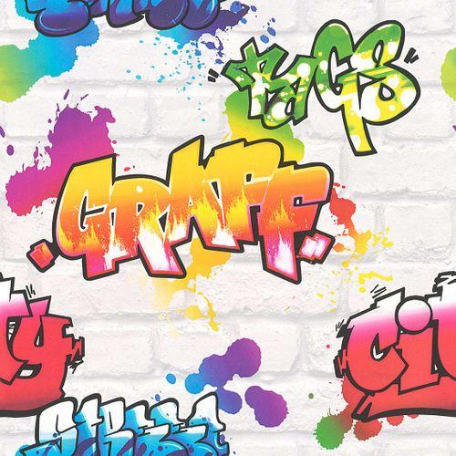 Jugendtapete Rasch Graffiti Steine weiß regenbogen 272901 online kaufen
