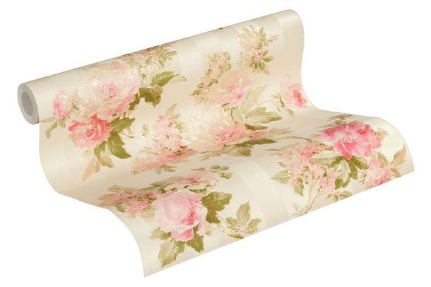 Tapete Vlies Streifen mit Blumen creme grün 30446-4 online kaufen