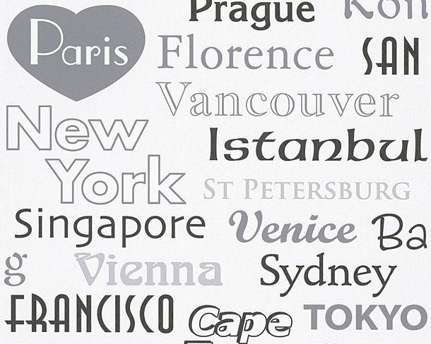 Kindertapete Namen Städte weiß grau 30467-1 online kaufen