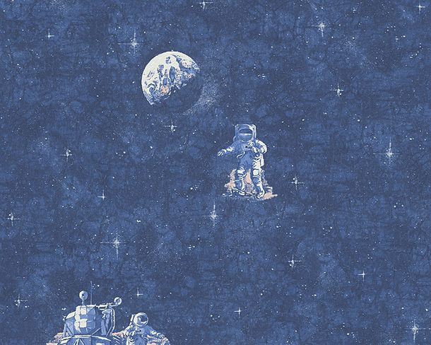 Kids Wallpaper Retro Space blue white Leuchtend 30489-1 online kaufen