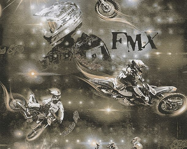 Kids Wallpaper Motorcross bronze brown Metallic 30656-2 online kaufen