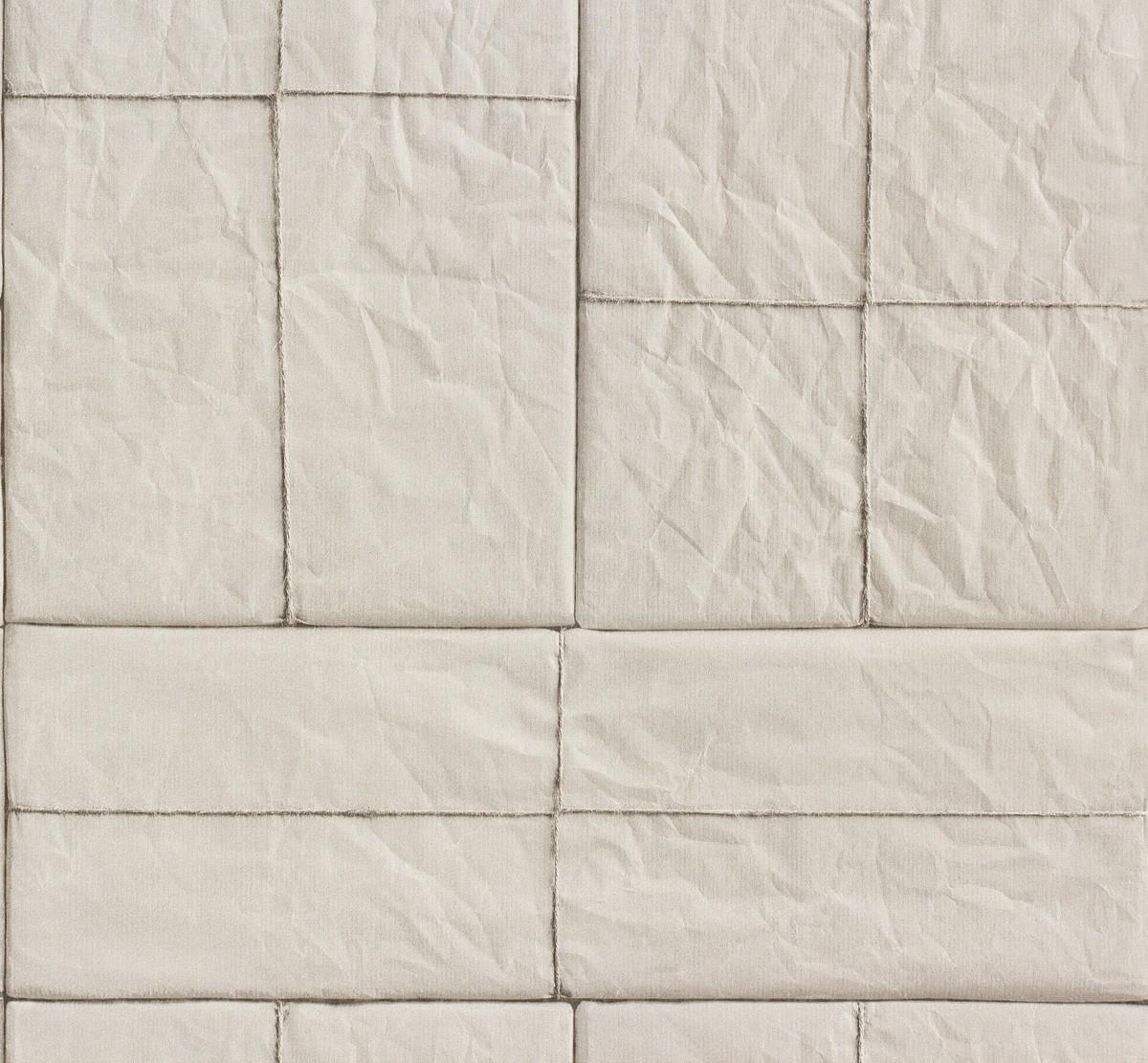Rasch Tapete Crispy Paper Grau Fliesen Optik 524307 001