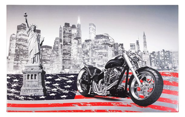 Canvas mural USA skyline black white red 78x118 online kaufen