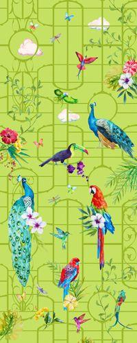 Zuhause Wohnen Tapeten-Panel Vogel grün 47082 online kaufen