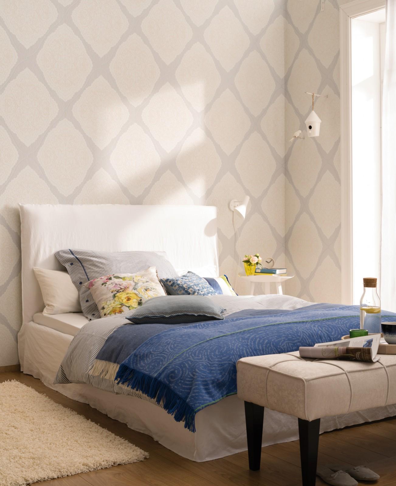zuhause wohnen tapete verzierung grau creme 57104. Black Bedroom Furniture Sets. Home Design Ideas
