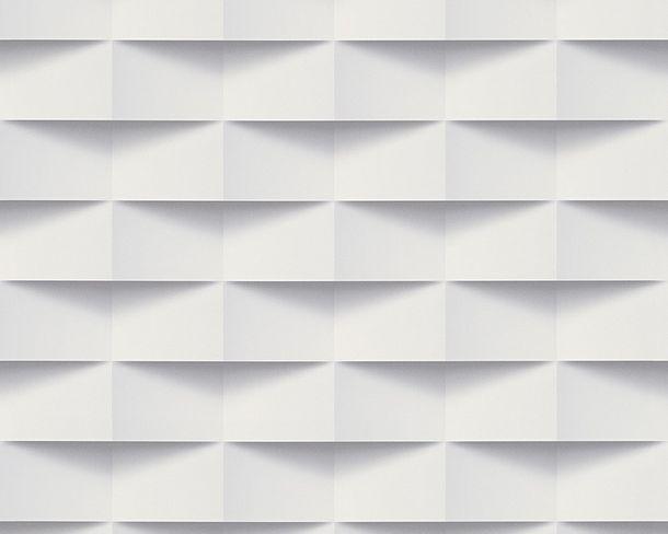 Tapete Vlies 3D-Optik Quadrat-Grafik weiß grau 30248-1 online kaufen