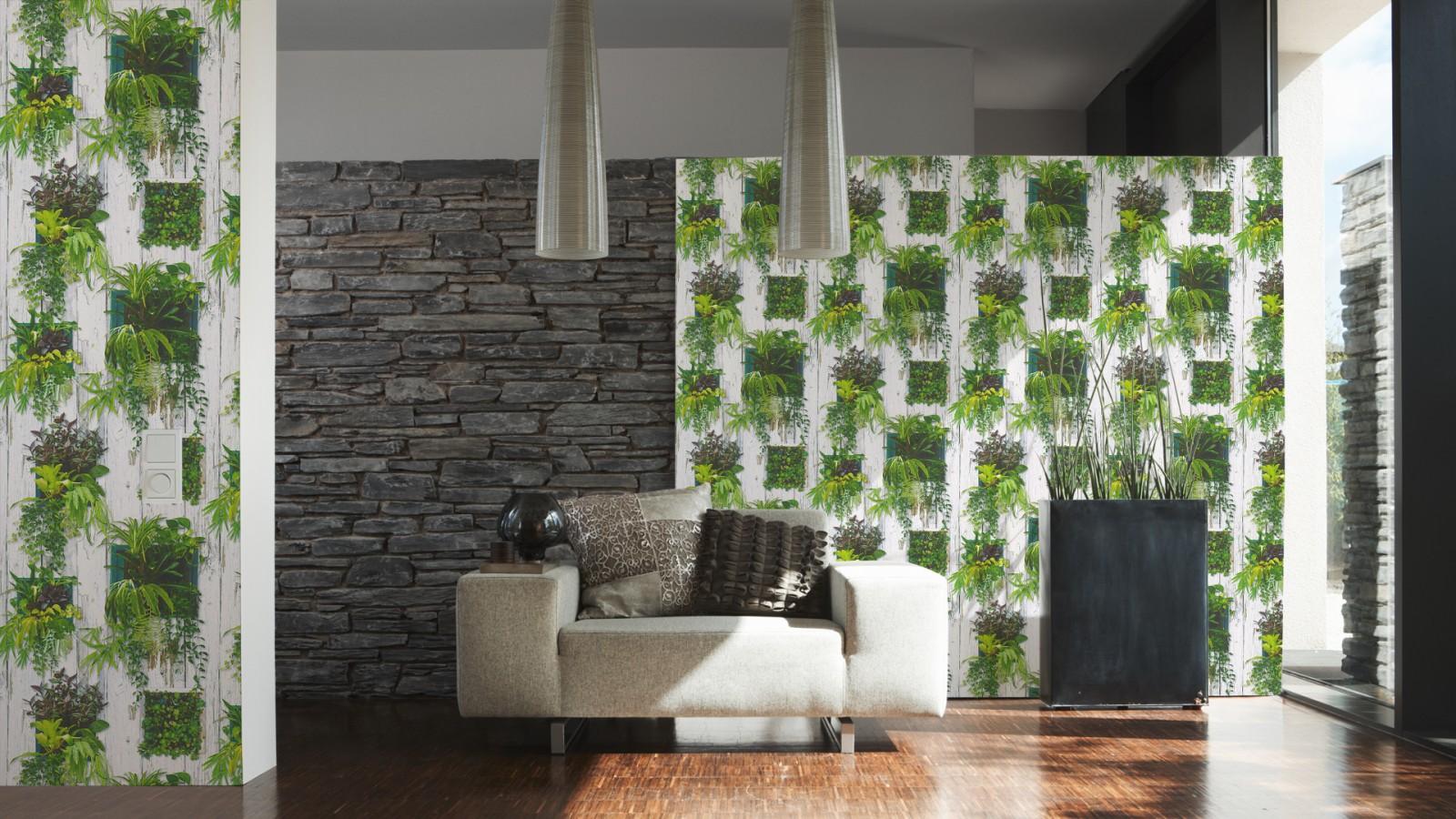 tapete holz optik pflanze floral wei gr n 30413 1. Black Bedroom Furniture Sets. Home Design Ideas