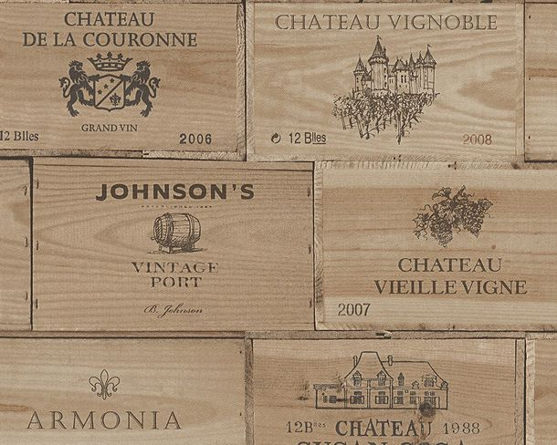 Tapete Vlies Wine box Holz Used hellbraun 30477-1