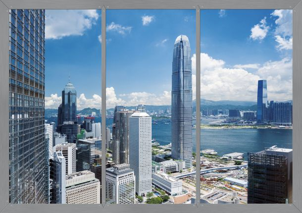 Fototapete Tapete Hongkong Skyline Stadt blau 360x254cm online kaufen