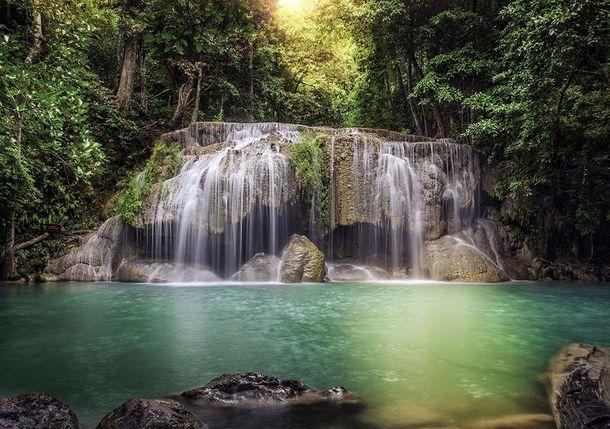 Fototapete Tapete Wasserfall Tropen Bäume Natur 360x254cm online kaufen