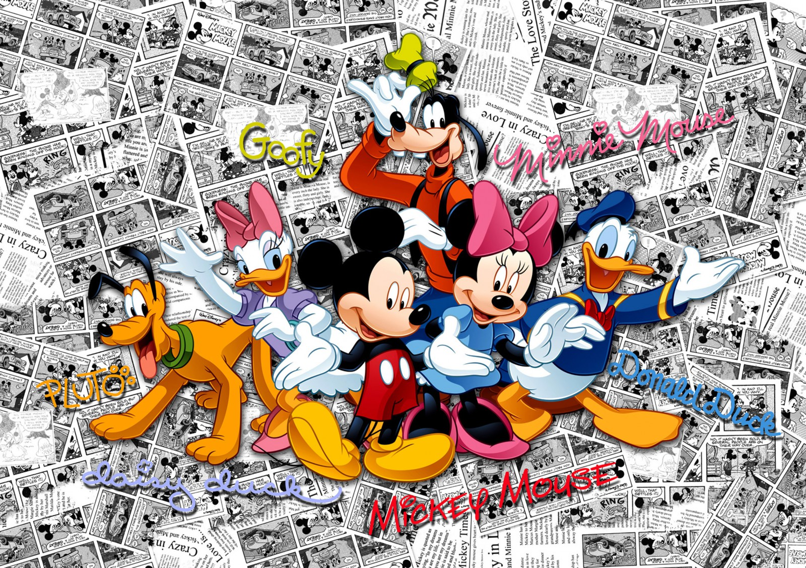 disney fototapete tapete micky minnie maus goofy 360x254cm. Black Bedroom Furniture Sets. Home Design Ideas