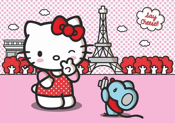 Hello Kitty Fototapete Tapete Paris rosa 360x254cm online kaufen