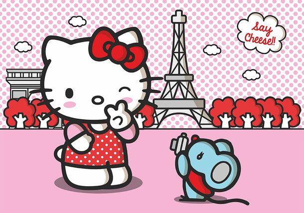 Photo Wallpaper Mural Hello Kitty Paris rose 360x254cm online kaufen