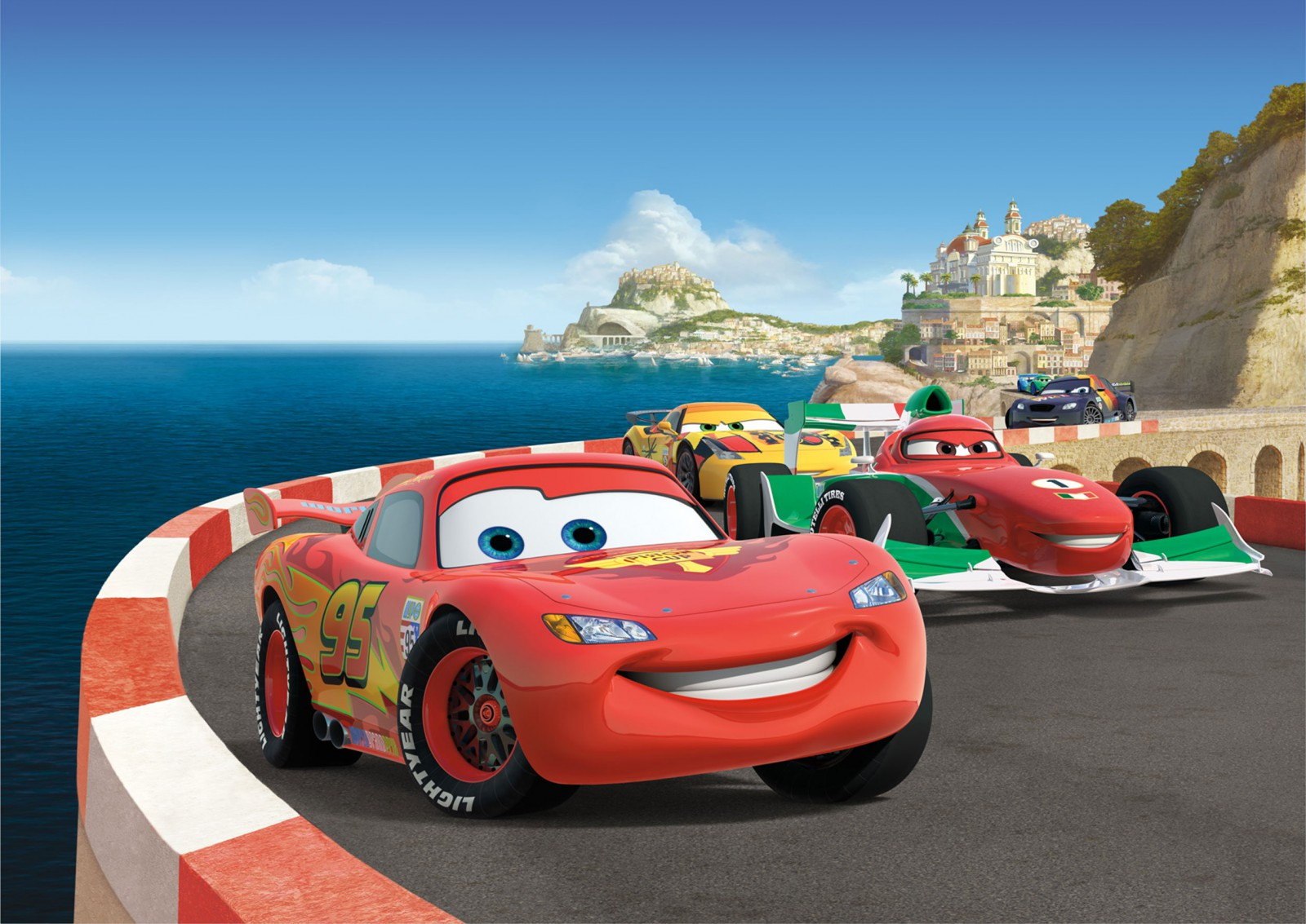 disney fototapete cars lightning mcqueen 255x180cm. Black Bedroom Furniture Sets. Home Design Ideas