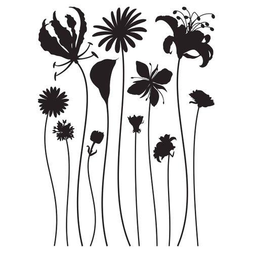 Wall Sticker Decoration Flower Floral black 65x85cm