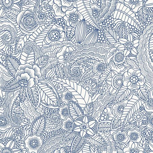 Tapete Vlies Floral Natur World Wide Walls blau 148615