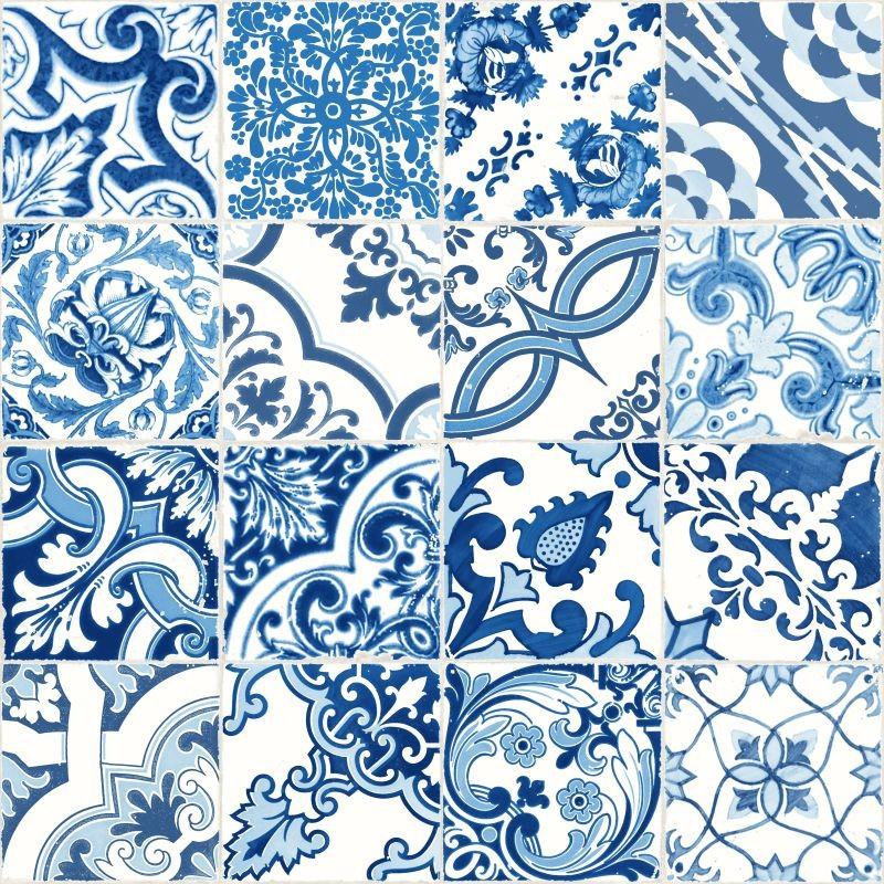 Tapete Vlies Fliesen Ornamente Blau 148636