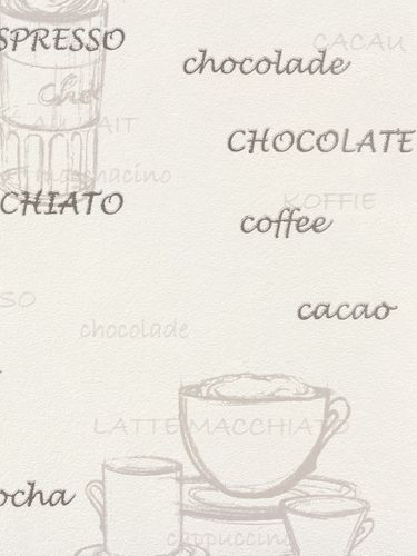 Vliestapete Rasch 770421 Küche Motive Kaffee weiß grau