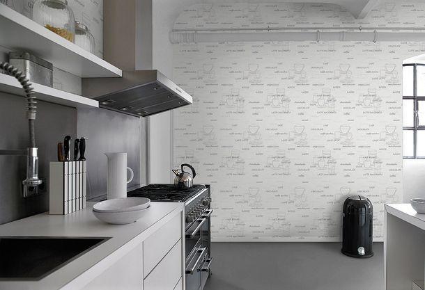 Vliestapete Rasch 770421 Küche Motive Kaffee weiß grau online kaufen