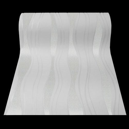 Wallpaper non-woven Retro Wave Glitter white 13191-20
