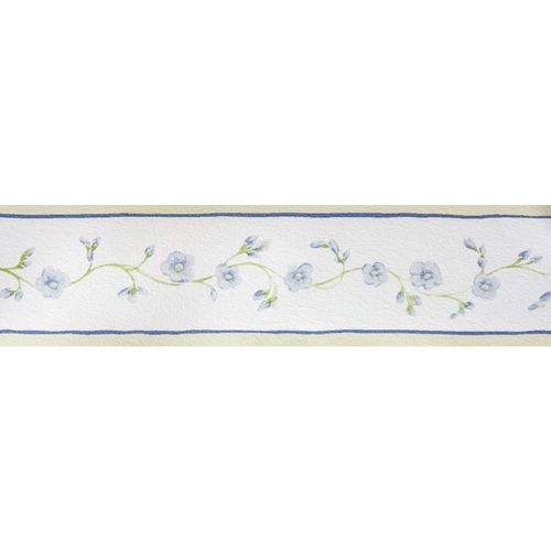 Tapetenborte Bordüre Floral weiß blau Petite Fleur 285504 online kaufen