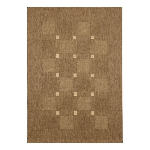 Carpet Flatwoven squared checkered Andria brown beige  online kaufen