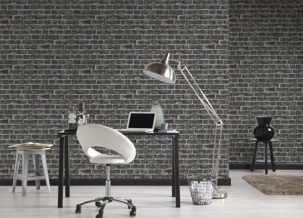 Vlies Tapete Steinoptik Ziegel AS Creation grau schwarz 30682-2 online kaufen