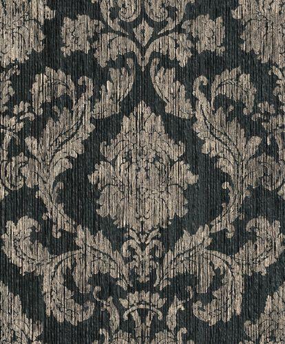Wallpaper ornamental Rasch Textil Paper Yarn black 077819