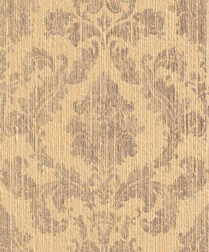 Wallpaper ornamental Rasch Textil Paper Yarn yellow 077864