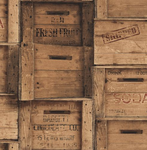 Wallpaper vintage wood boxes World Wide Walls brown 022348 buy online