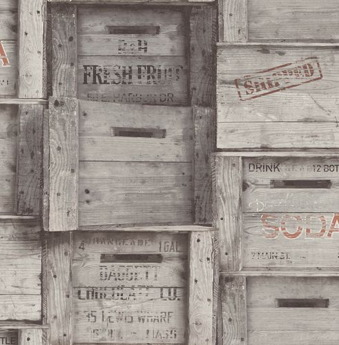 Wallpaper vintage wood boxes World Wide Walls grey 022349 buy online