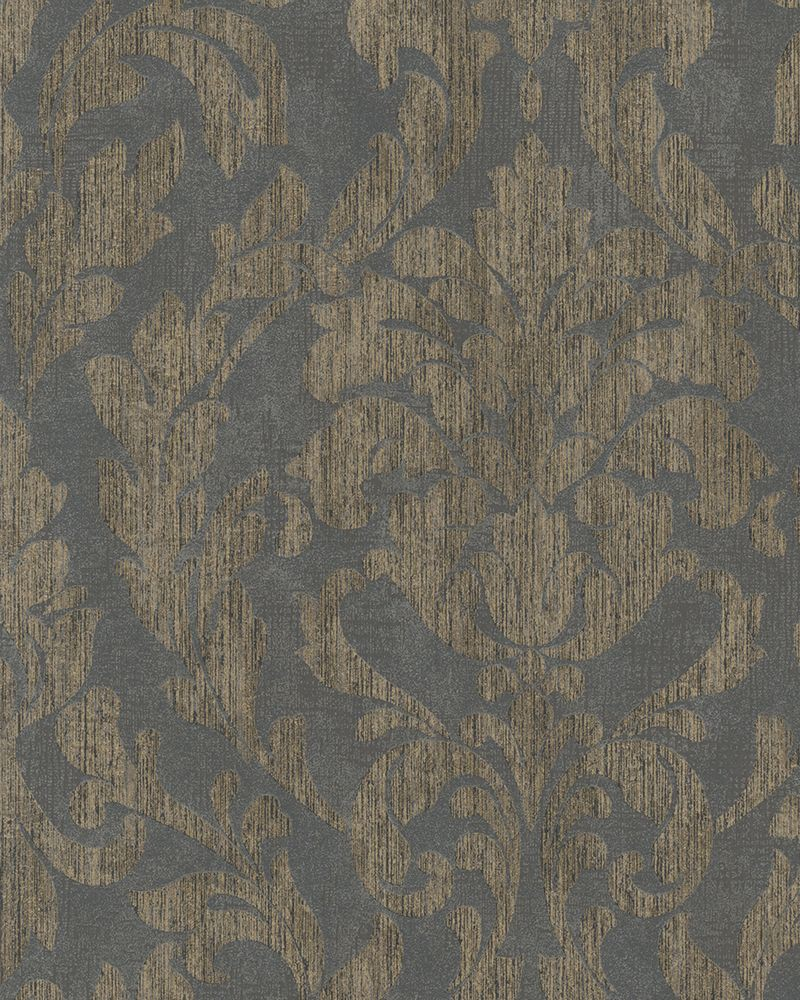 Wallpaper marburg ornaments shine grey gold 58037 for Tapete grau gestreift