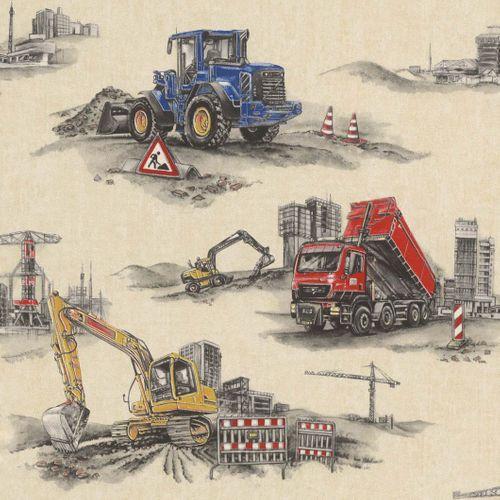 Kindertapete Rasch Bagger Bauarbeiter beige grau 293500 online kaufen