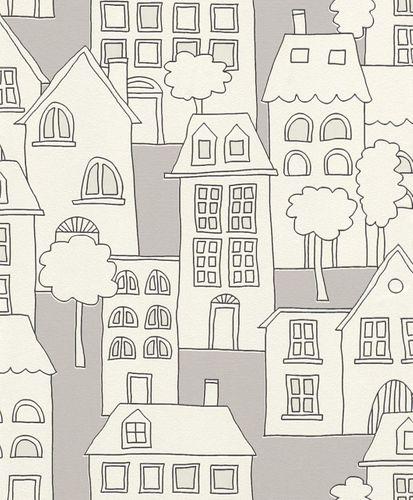 Glowing Wallpaper Kids Houses Trees grey white Rasch 503449 online kaufen