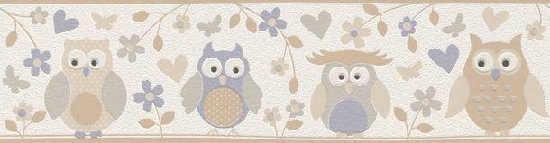 Kid's Border Owls Flowers white beige grey Rasch 459210