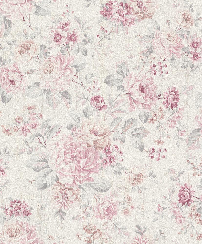 Wallpaper vintage floral cream white rose rasch 516029 for Cream rose wallpaper