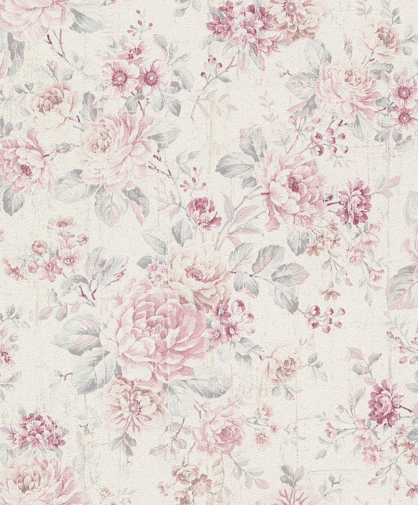 Wallpaper Vintage Floral Cream White Rose Rasch 516029
