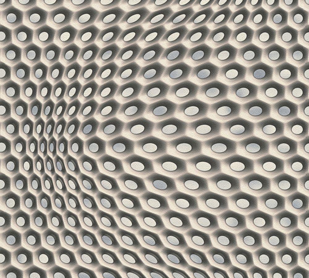mac stopa tapete grafisch 3d optik waben beigegrau 32707 3. Black Bedroom Furniture Sets. Home Design Ideas