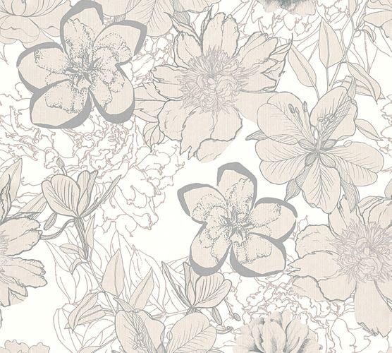 Wallpaper flower floral white silver AS Creation 32798-1 online kaufen