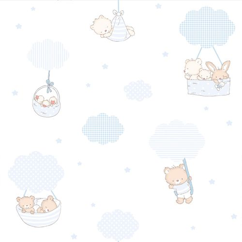 Wallpaper Kids clouds animals Rasch Textil blue 330006 online kaufen