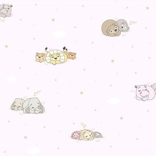 Tapete Kinder Tier Wolke World Wide Walls rosa beige 330044