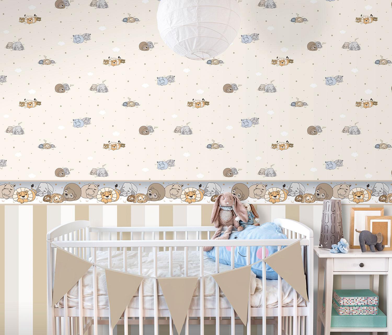 Tapete Kinder Tier Wolke Rasch Textil beige braun 330051