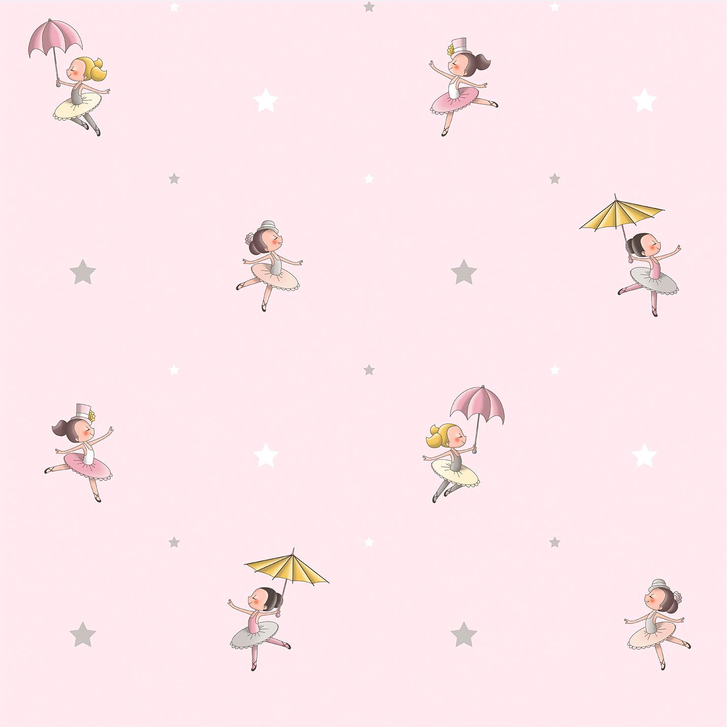 Wallpaper Kids Ballet Girl Rasch Textil Rose Grey 330075 001