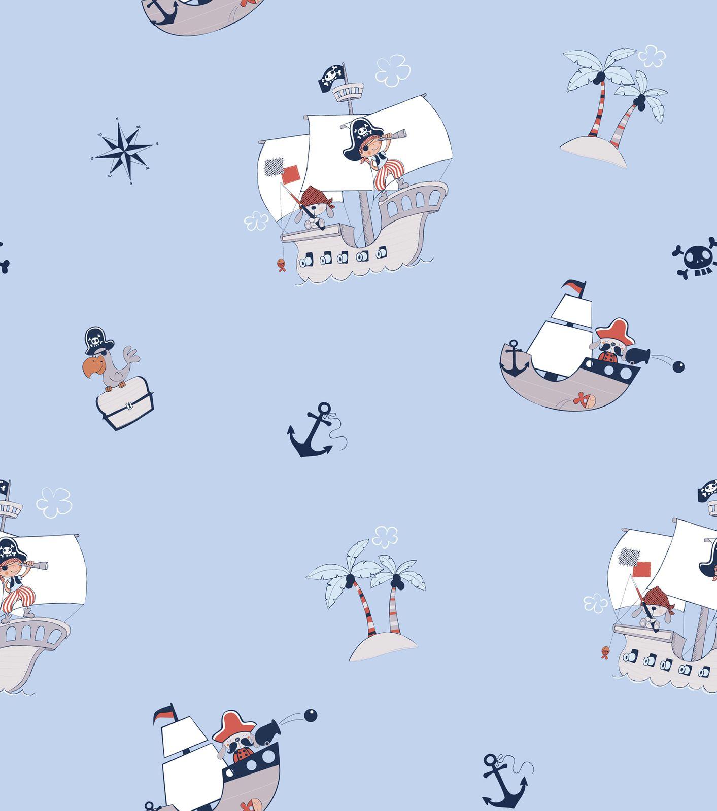 tapete kinder piraten jungs blau grau 330099 rasch textil. Black Bedroom Furniture Sets. Home Design Ideas